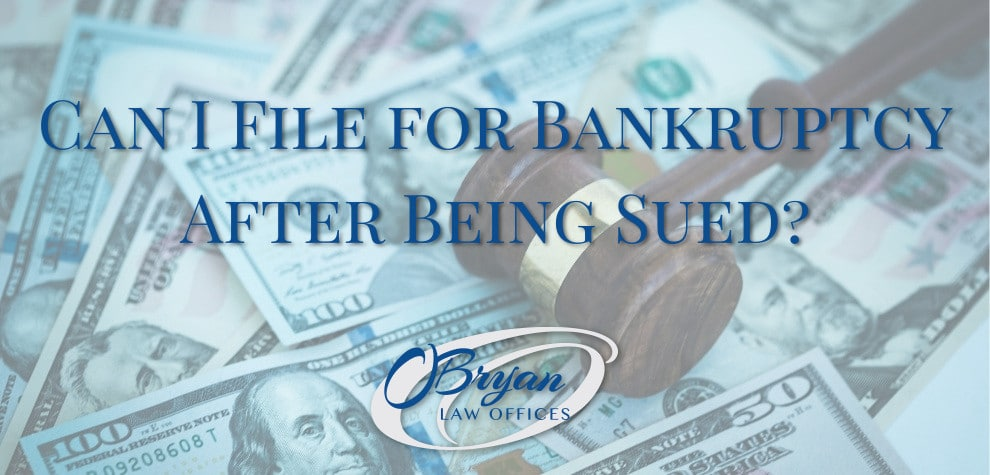 can i file for bankruptcy after being sued